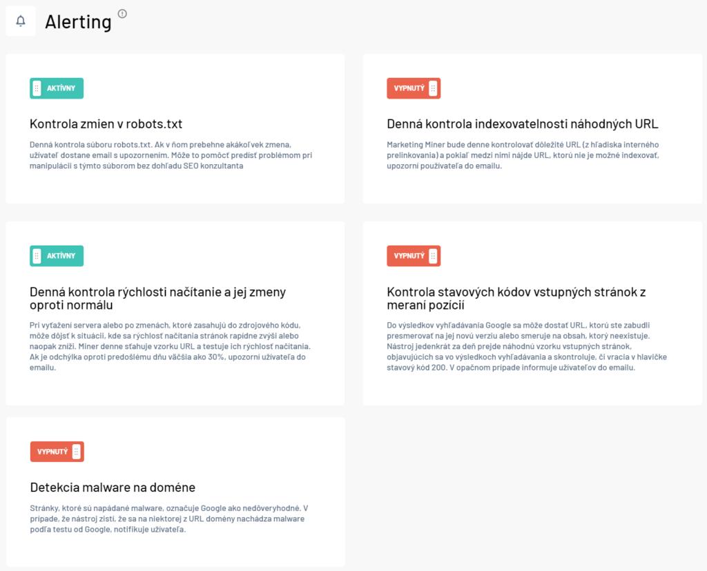 Alerting - kontrola zmien na webe v Marketing Miner