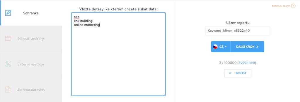 Analýza PPC vložení dat