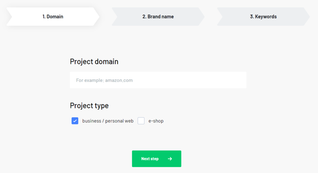 Enter domain to project settings