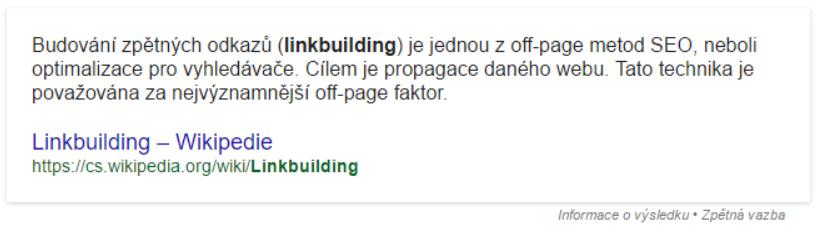 featured snippet ukážka link building