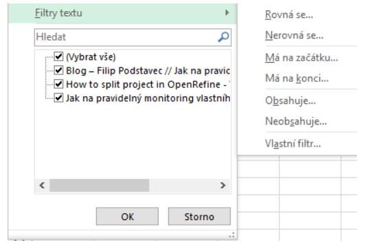 Filtre textu Excel