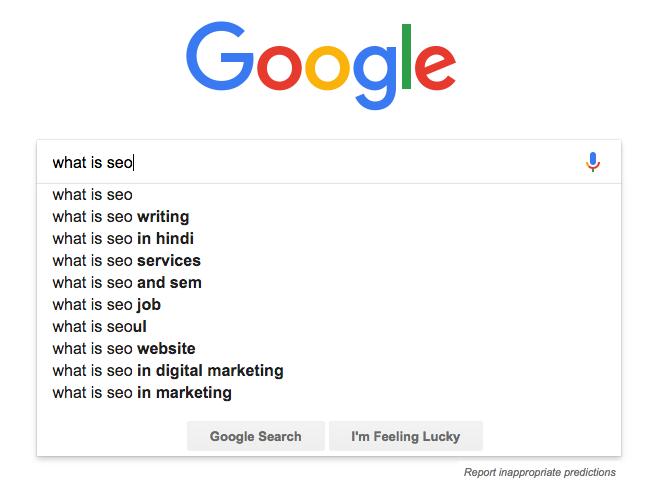 Google našepkávač