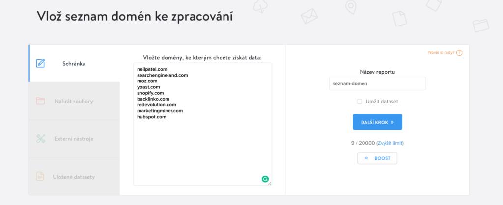 hromadné ověření dostupnosti domén - vložení dat