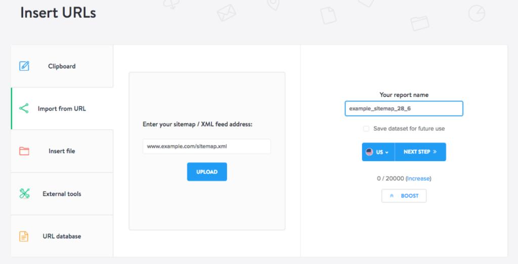 insert URLs from sitemap - screenshot miner