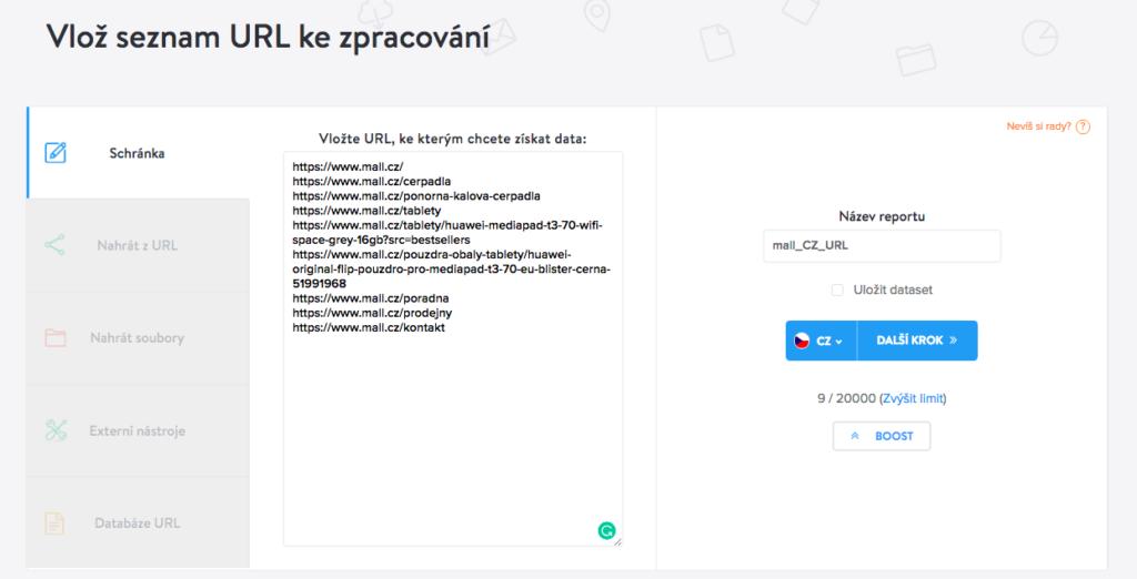 Kontrola indexace URL - vložení dat