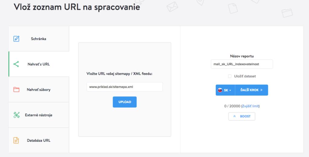 Kontrola rýchlosti Google PageSpeed vloženie sitemap