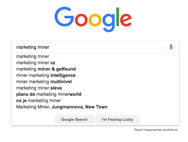 marketing miner google našeptávač dotazů