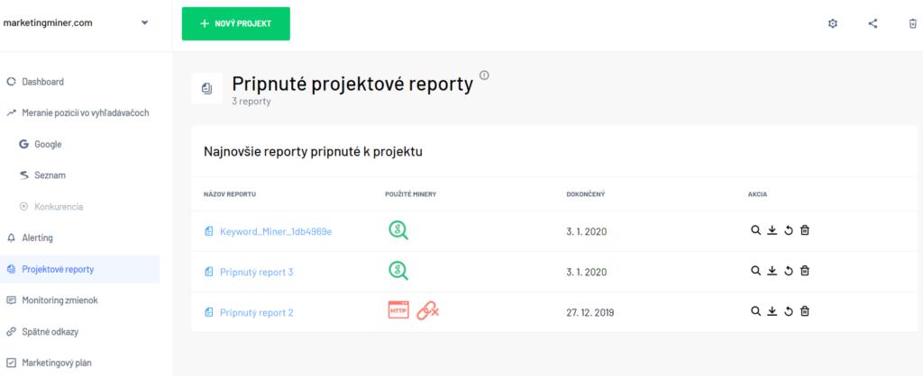 Projektové reporty - Marketing Miner