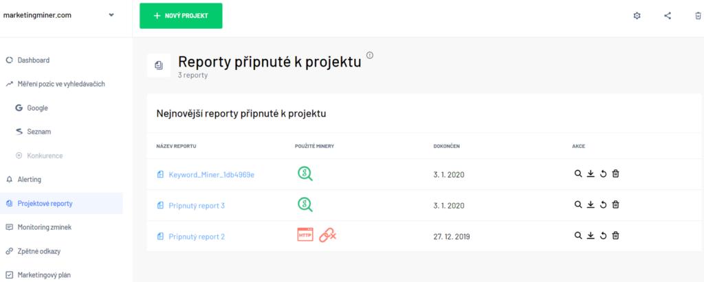 Projektové reporty Marketing Miner sekce projekty