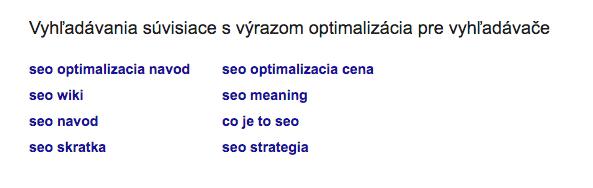 Related search ukážka Google