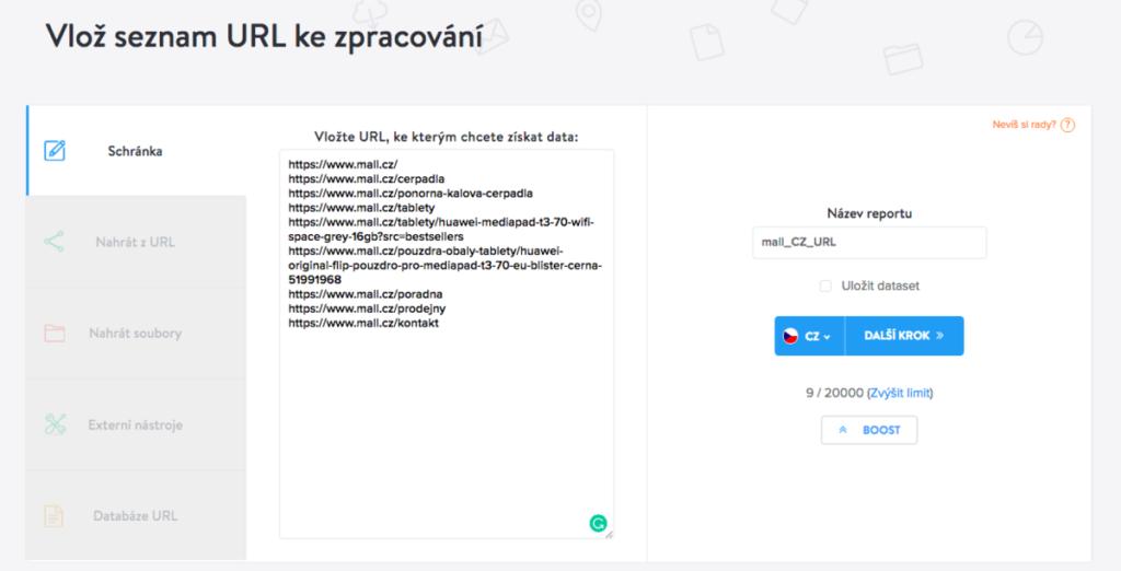 Screenshot webů - vložení dat