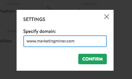 specify domain - landing page miner settings