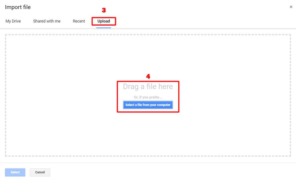 Upload Google Sheets