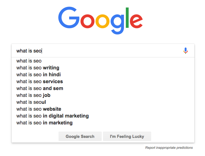 Search engines autocomplete example