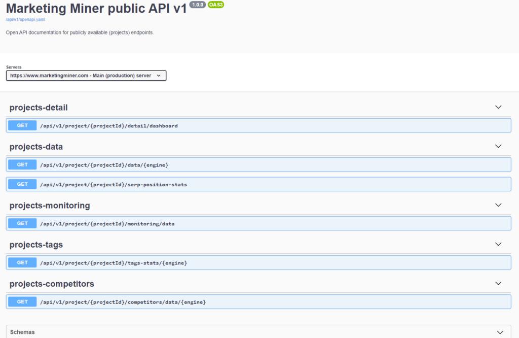 Marketing Miner projektové API dokumentace