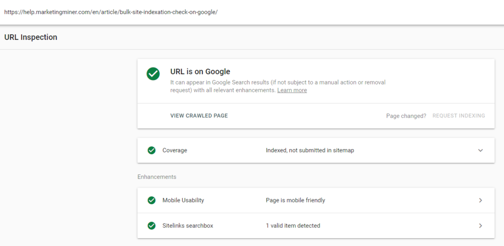 URL Inspection tool Google Search Console