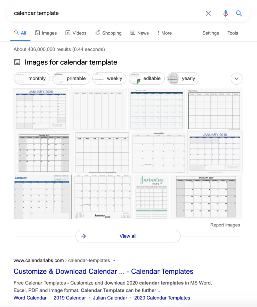 Calendar template images box in SERP