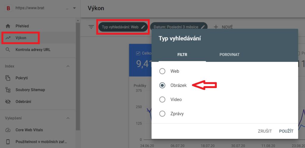 Google Search Console typ vyhledávaní - obrázek