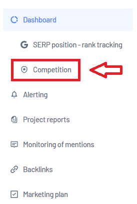 Competition section in Marketing Miner projects