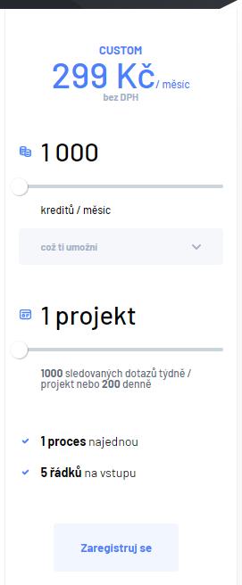 Custom tarif pro 1 projekt