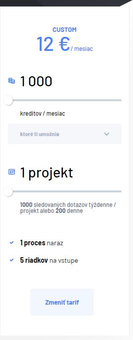 Custom tarif pre 1 projekt za 12 €