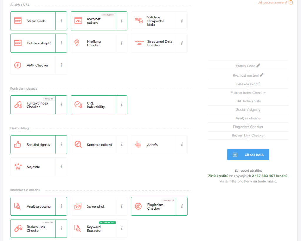 SEO Audit webu pomocí URL minerů