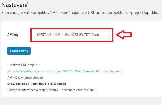 Nastavení API klíče v MM pluginu
