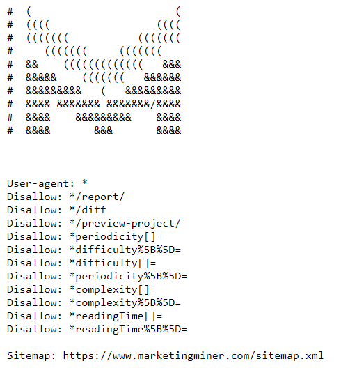 Ukážka súboru robots.txt webu Marketing Miner