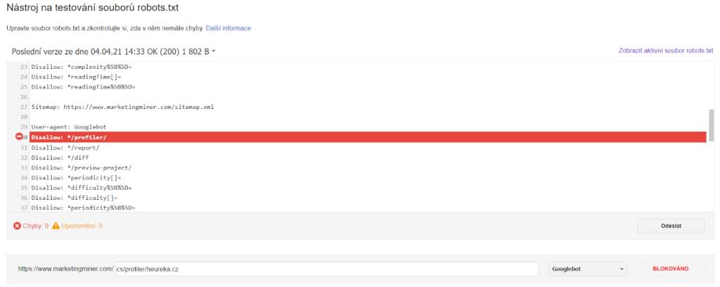 Robots.txt testing tool v Google Search Console