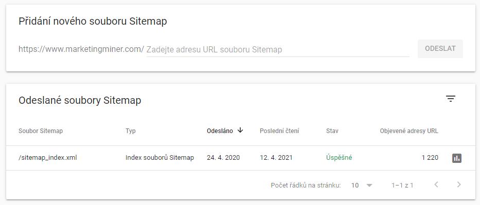 Pridanie nového súboru sitemap.xml do Google Search Console