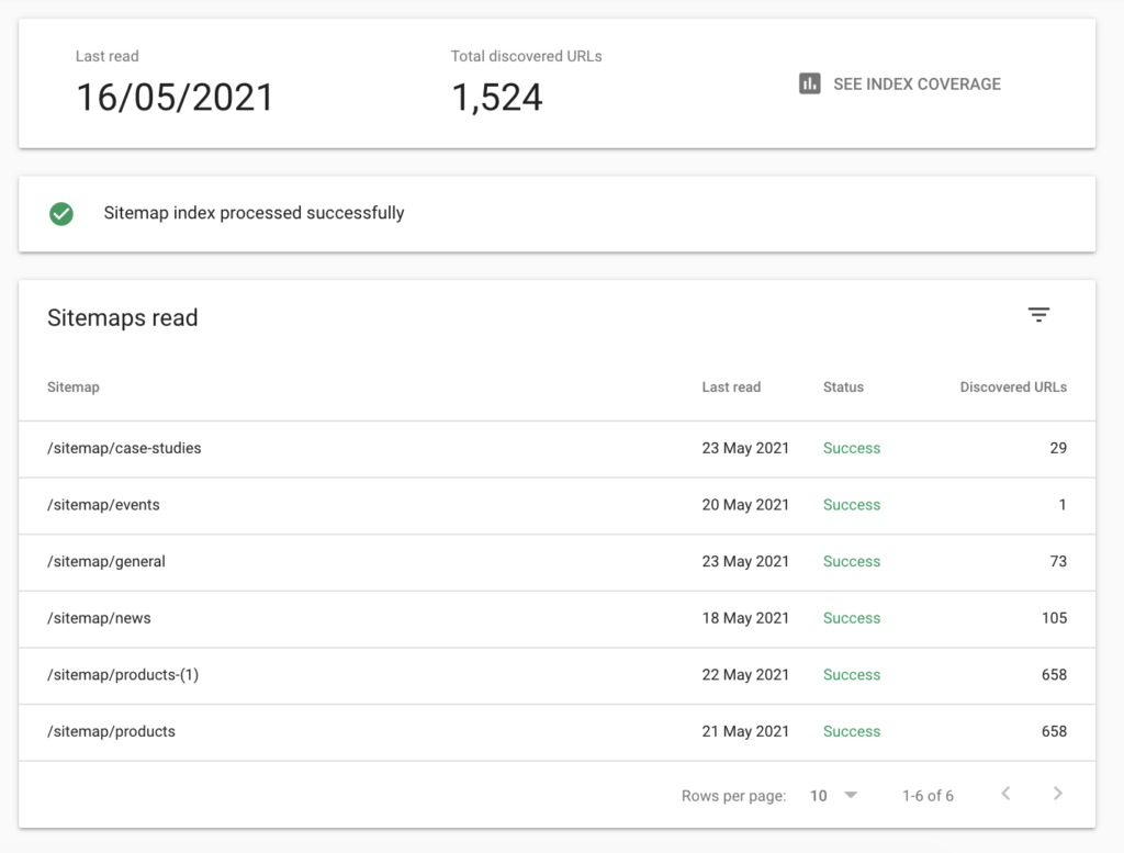 Sitemap status processing in Google Search Console