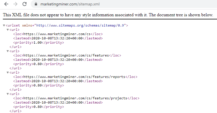 Ukážka sitemap.xml
