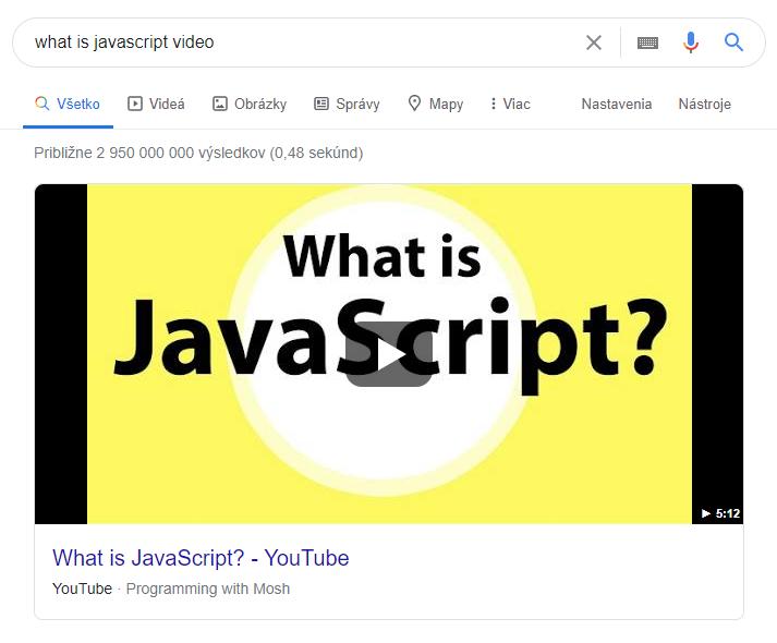 Video - featured snippetu