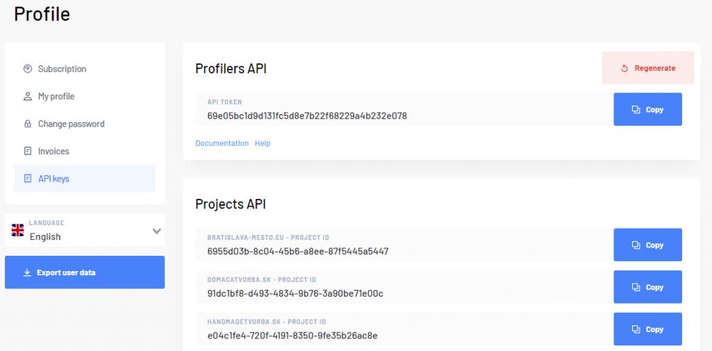 API keys in Marketing Miner