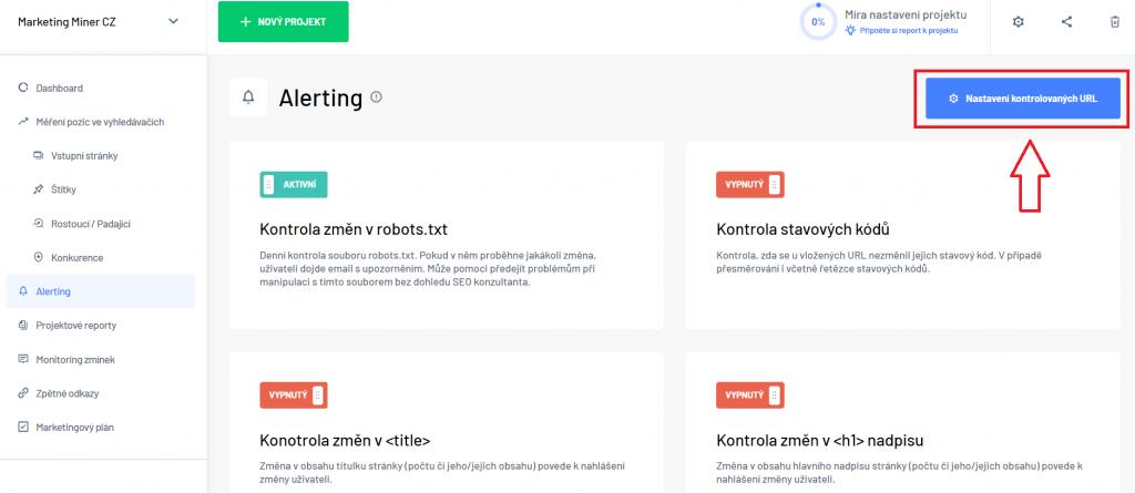 Nastavení kontrolovaných URL - Alerting v Marketing Miner